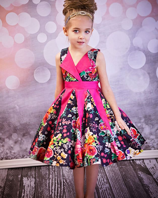 Lilly's Lapel Party Dress | The Simple Life Pattern Company PDF sewing pattern for girl sizes 2t-12.