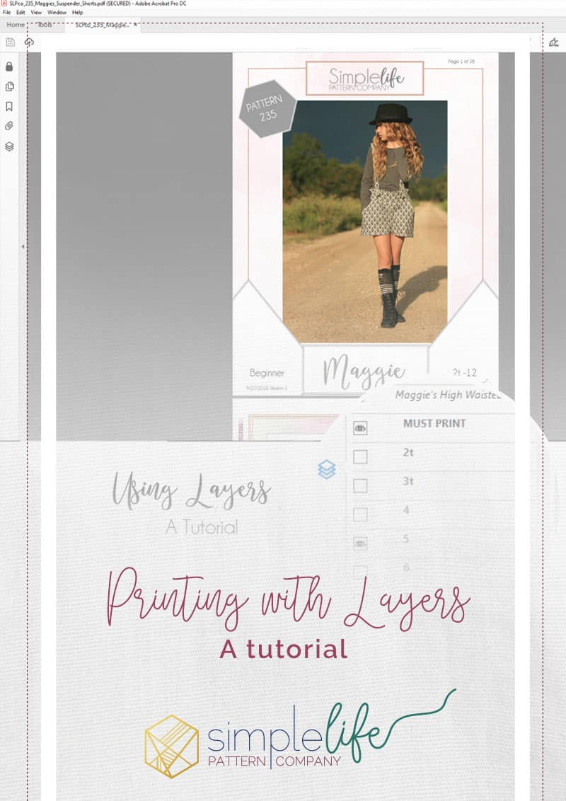 How to print PDF patterns with layers tutorial | Simple Life Pattern Company