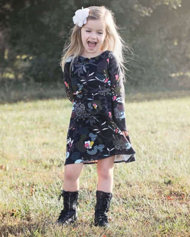 Saige's Boatneck Knit Dress | The Simple Life Pattern Company knit pdf sewing pattern for girls tween elastic waist Aline shift dress with sleeves simple basic fast easy beginner sewing comfortable play party dress spring summer fall winter dress