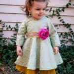 Ayda's V Back Peplum Top + Dress | The Simple Life Pattern Company Gathered or circle skirt woven dress with open back fast easy beginner pdf sewing pattern babies girls baby with sleeves many lengths flutter elbow short and long sleeves fancy holiday party special occasion dress newborn girls tween
