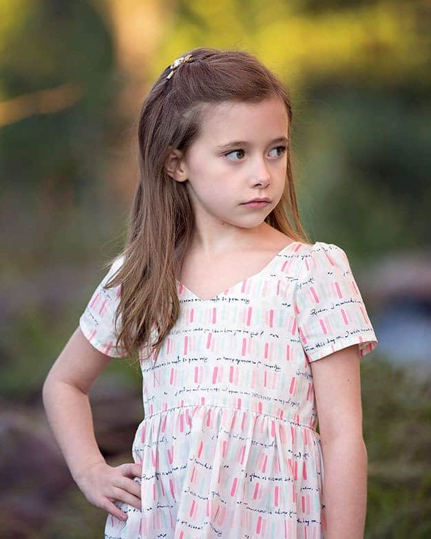 Brenda's Bow Back Top + Dress | The Simple Life Pattern Company PDF sewing pattern girls tween with long sleeves gathered skirt bow strappy back open back bows spring summer fall winter dress top party fancy ruffle skirt