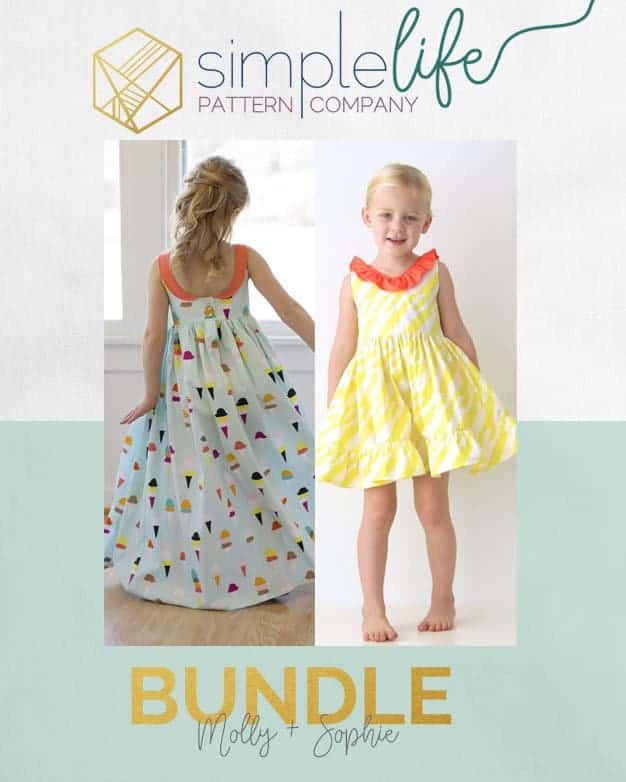 Sophie Dress | The Simple Life Pattern Company fast easy beginner PDF sewing pattern downloadable top dress long sleeves cap sleeves ruffle dress top scoop back v back ruffle neck faux sash button back open back spring summer fall winter back to school dress holiday fancy special occasion party dress