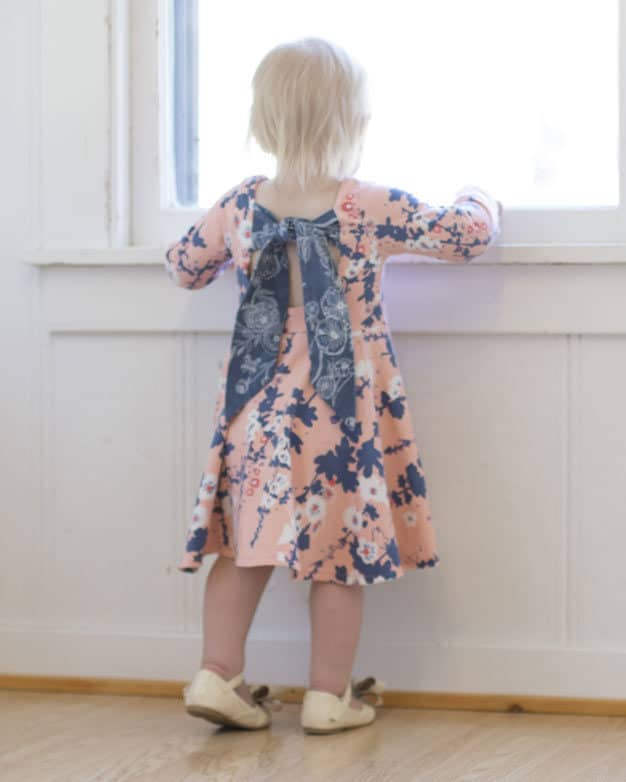 Baby Adelyn Scoop Back Top + Dress | The Simple Life Pattern Company knit woven combo pdf sewing pattern baby girls babies tween scoop back lined bodice tie bow back circle skirt or gathered skirt top or dress length. long sleeves spring summer fall winter play dress puff sleeve empire bodice