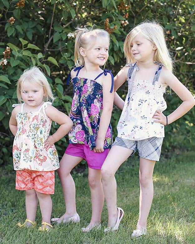 Angie's Shirred Shirt + Elle's Shorts   The Simple Life Pattern Company