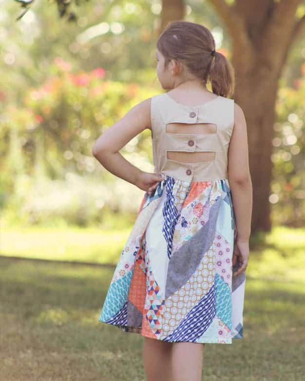 Emma's Top + Maxi Dress | The Simple Life Pattern Company PDF sewing pattern girls tween full back closure open back strappy unique spring summer beach dress fall winter top and dress with sleeves herringbone quilt skirt design slpco quilting series quilted skirt pieced skirt v neck pieced bodice