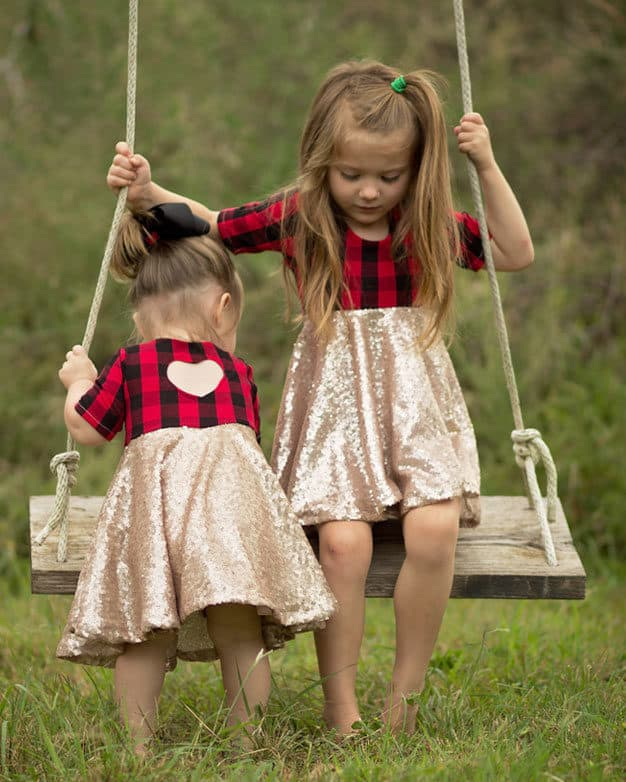 Isla's Infinity Dress PDF sewing pattern girls and babies knit woven combo dress with back bodice heart cut out beginner easy pdf dress with sleeves high low drop waist circle skirt gathered skirt top and dress lengths