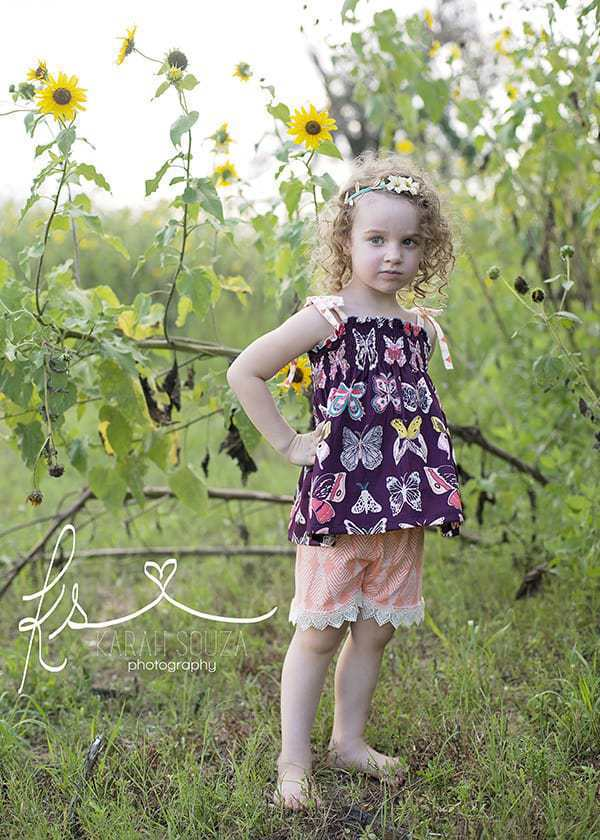 Angie's Shirred Top & Elle's Shorts. PDF sewing patterns for girl sizes 2t-12.