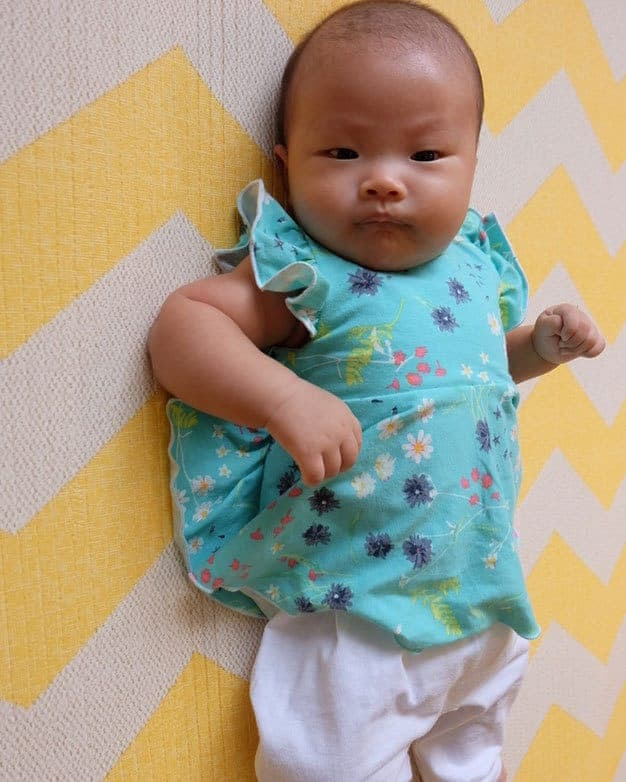 Knit Baby Aydas V Back Peplum + Dress The Simple Life Pattern Company