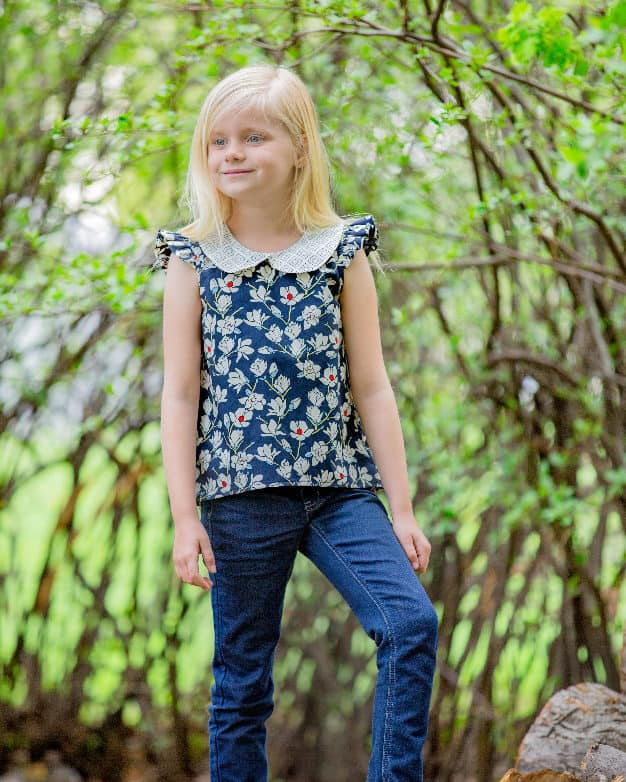 Sugar Pop Top Simple Life Pattern Company Sew Caroline Hulse Woven cotton collar top high low hem full back snap button closure full collar tank flutter and cap sleeves vintage tunic classic style trendy kids spring summer fall winter