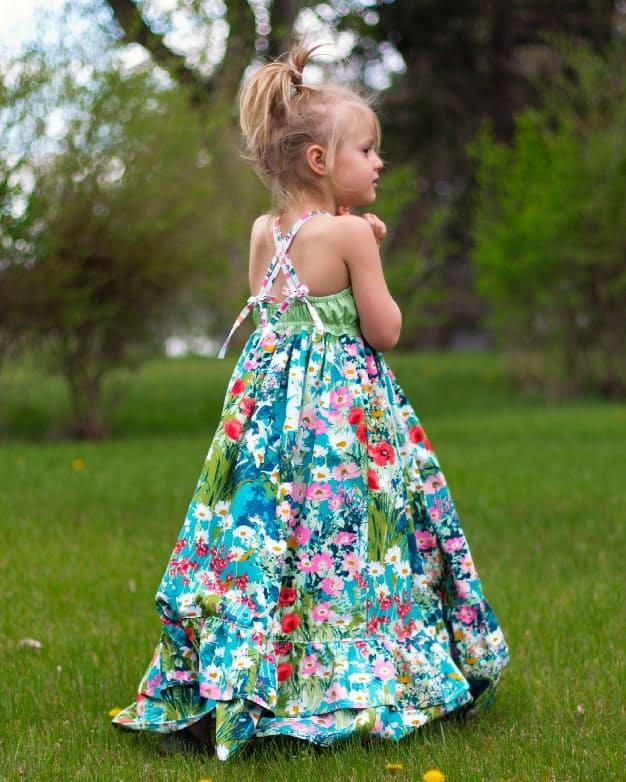 Cora's strappy back Top Dress and Maxi. Woven straps tie in back. elastic grow with me bodice. double ruffle dress. Pleated wave bodice pintucks toddler baby girls spring summer fall dress fancy special occasion party dress. beach maxi trendy