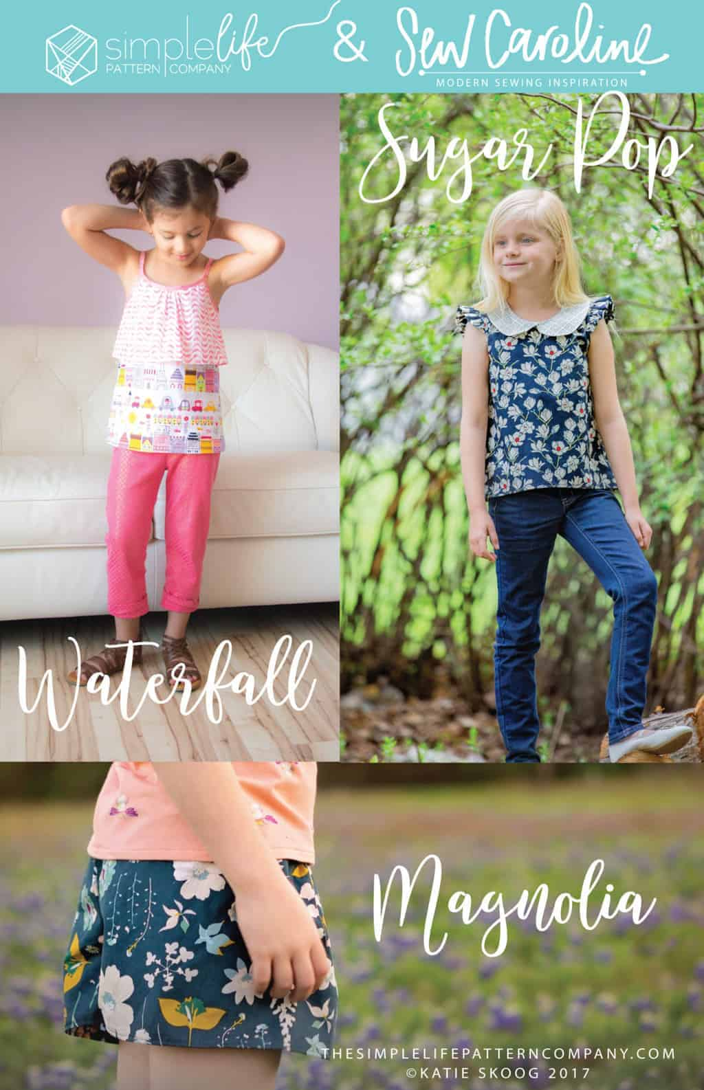 Simple Life Pattern Company in collaboration with Sew Caroline Magnolia shorts skirt shorts look like skirt flow relaxing play comfy comfortable shorts PDF sewing pattern for girls women sizes 2t-12 knit woven beginner fast sew #SLPco #SLPcoMagnolia #SLPcoXSC Simple Life Pattern Company in collaboration with Sew Caroline Waterfall Tank flounce top tie strap spaghetti straps spring summer fall layering top bows ruffle front pdf sewing pattern girls women 2t-12 Sugar Pop Top Simple Life Pattern Company Sew Caroline Hulse Woven cotton collar top high low hem full back snap button closure full collar tank flutter and cap sleeves vintage tunic classic style trendy kids spring summer fall winter