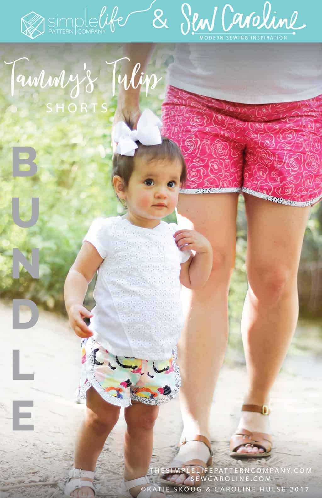 Simple life pattern company in collaboration with Sew caroline women pdf sewing patterns Tammy's tulip shorts cochlea sports athletic relax comfy pom pom shorts easy modern sewing patterns ladies mommy momma and me girls beginner easy fast Womens and girls bundle sewing pattern sew mommy and me