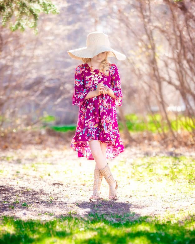 Patricia's Boho High Low Top and Dress Dramatic bohemian spring summer fall scoop back girls dress top tunic sizes 2t-12 bell sleeves cap sleeves long sleeves tank top woven cotton rayon knit fabric beginner easy PDF sewing pattern Simple Life Pattern Company #SLPco #SLPcoPatricia