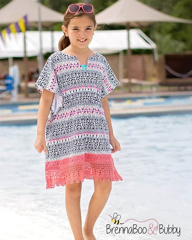 SImple Life Pattern Company, Cordelia's Swim Cover, pdf sewing pattern girls 2t-12, slpco, swim, cover up, beach, pool, beginner pattern, summer,