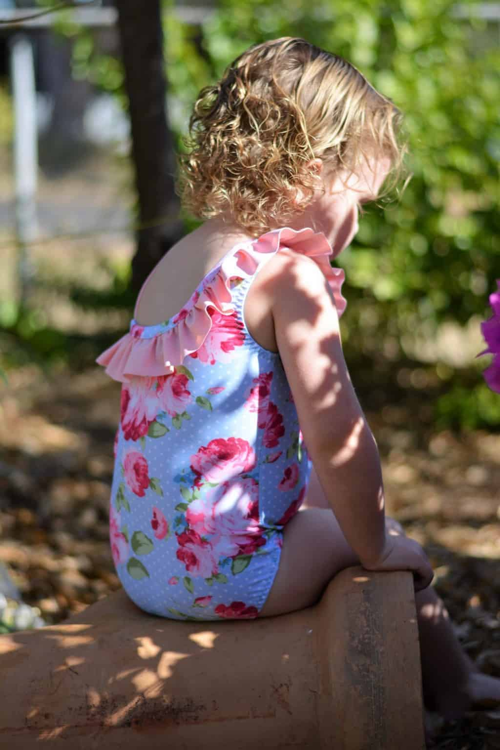 Simple Life Pattern Company Lorelei Flutter Swimsuit: A Flutter Hack Lorelei's Flutter Side Cut Out Swimsuit pdf sewing pattern girls 2t-12 slpco swimsuit flutter side cutout summer one shoulder strappy trendy