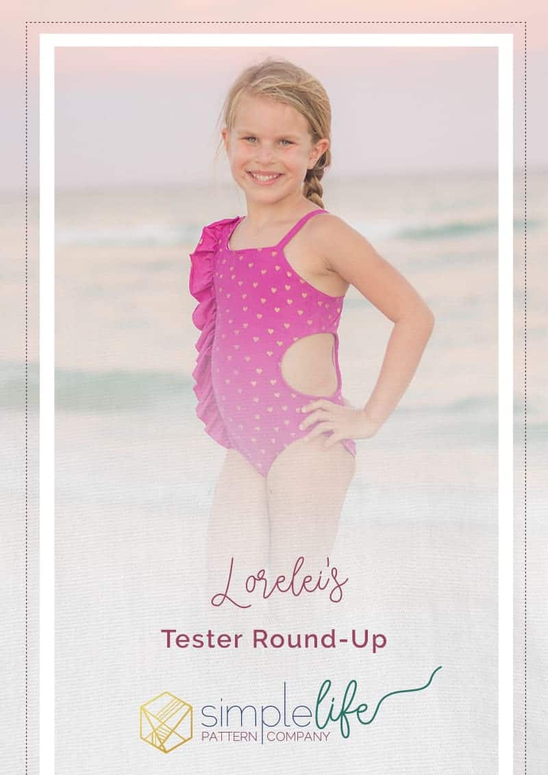 Simple Life Pattern Company Lorelei's Flutter Side Cut Out Swimsuit pdf sewing pattern girls 2t-12 slpco swimsuit flutter side cutout summer one shoulder strappy trendy