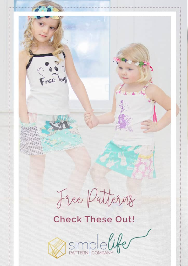 a whole list of free sewing patterns for girls and baby and doll simple life pattern company skirt tank top headband cape capelet shirred top shorts free beginner advanced pdf sewing pattern