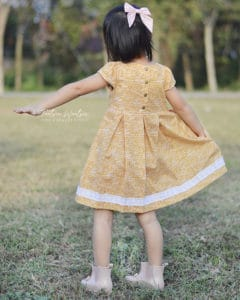 Ava's Pleated Dress | Simple Life Pattern Company pdf sewing pattern girls 2t-12 slpco pleats, pleated skirt box pleat sweetheart neckline spring, summer, fall, winter, sleeveless, long sleeve, button keyhole, deep hem, embroidery, bodice insert, top, dress