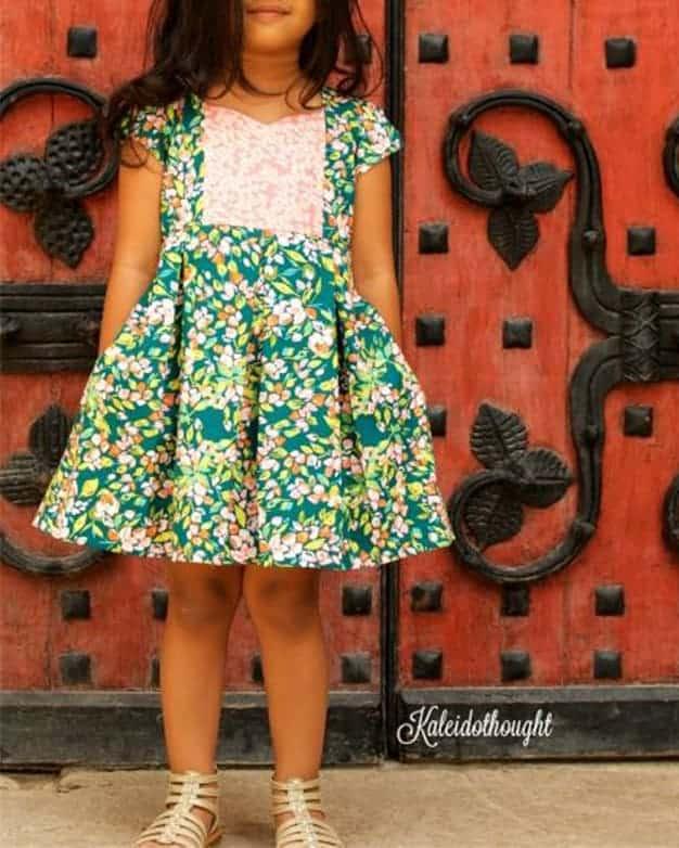 Ava's Pleated Dress | Simple Life Pattern Company pdf sewing pattern girls 2t-12 slpco pleats, pleated skirt box pleat sweetheart neckline spring, summer, fall, winter, sleeveless, long sleeve, button keyhole, deep hem, embroidery, bodice insert, top, dress