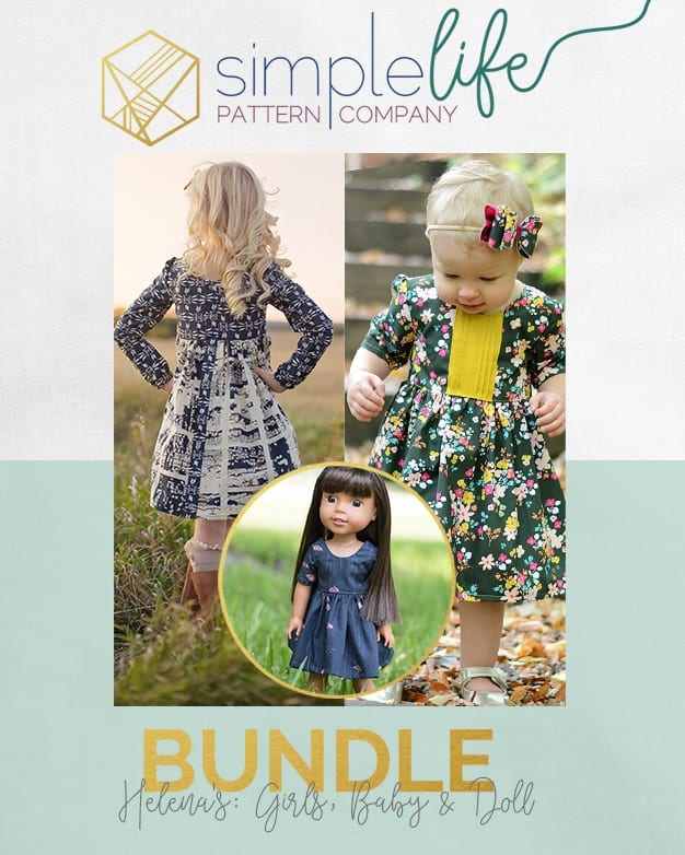 Simple Life pattern company doll Helena dolly button back top dress vintage doll patterns for american girl wellie wisher and bitty baby and my generation Girls spring fall winter summer top dress baby newborn flutters pintuck sleeves button back scoop neck modest high-low