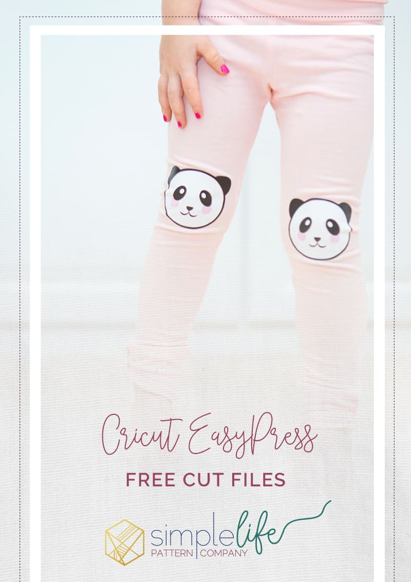 Cricut Easy Press review I The Simple Life Pattern Company Free svg dxf cut files for Cricut cutting machines Brother Silhouette cameo expolore air 2 scan and cut Sarah Ann Leggings Panda bear face knee patches thanksgiving themed cut files Cricut EasyPress heat press review how to use with youtube videos