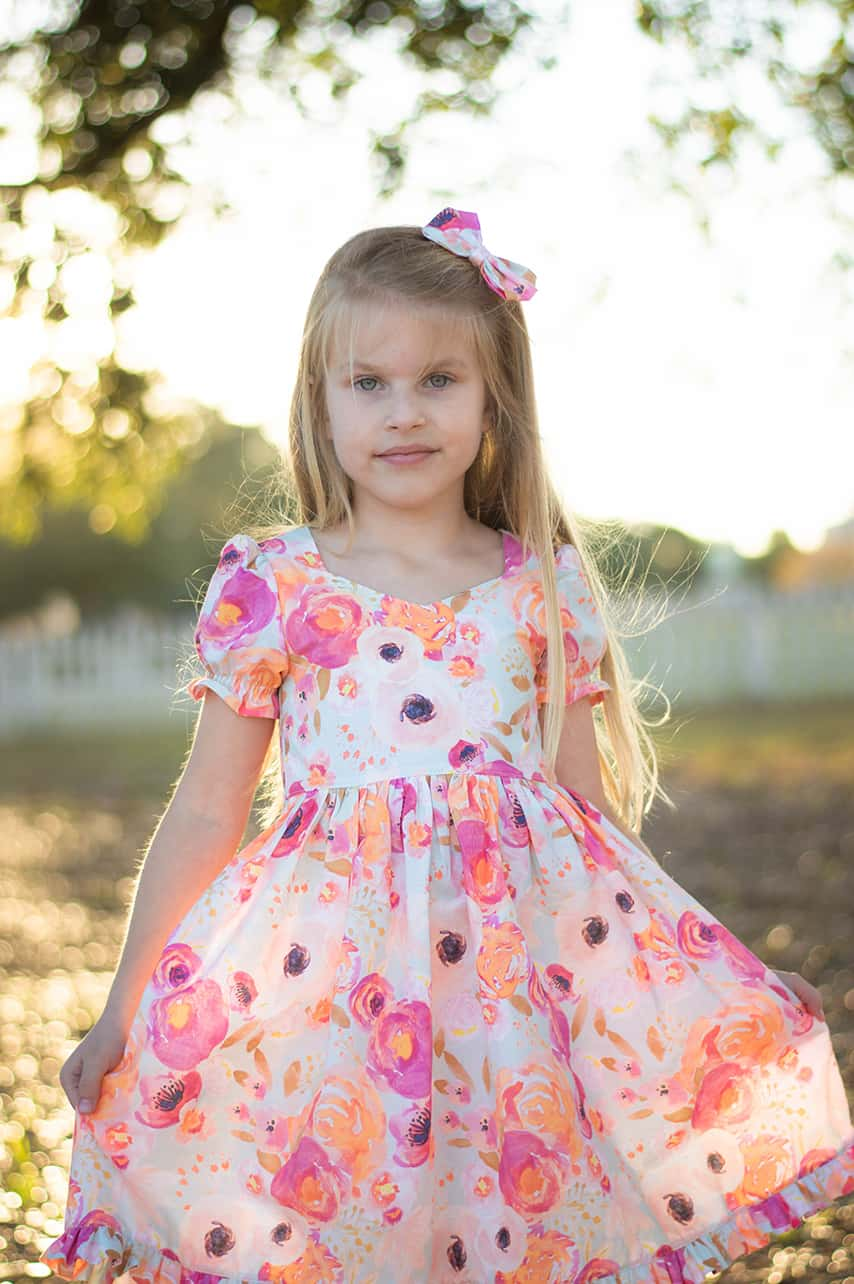 Simple Life Pattern Company | Hawthorne Threads Indy Bloom Showcase Ayda Sophie Pearl Dresses Fabric Indy Bloom SLPco Showcase Fabric Bows Hair Bows PDF sewing Patterns zipper shirring ruffle short sleeves special occasion