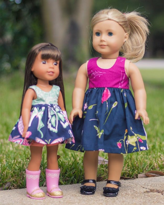 Simple Life pattern company doll Lucy dolly top and dress vintage doll patterns for american girl wellie wisher and bitty baby and my generation