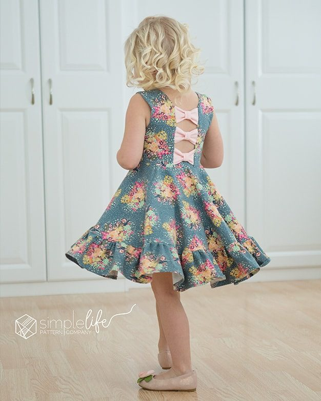 kids girls toddler Aria's bow back top and dress The Simple Life Pattern Company fashion trendy open back knit jersey lycra ruffle circle skirt twirl bow back modest pdf downloadable sewing pattern sleeves fall winter spring summer tank ruffle flutters vintage modern fast easy beginner.