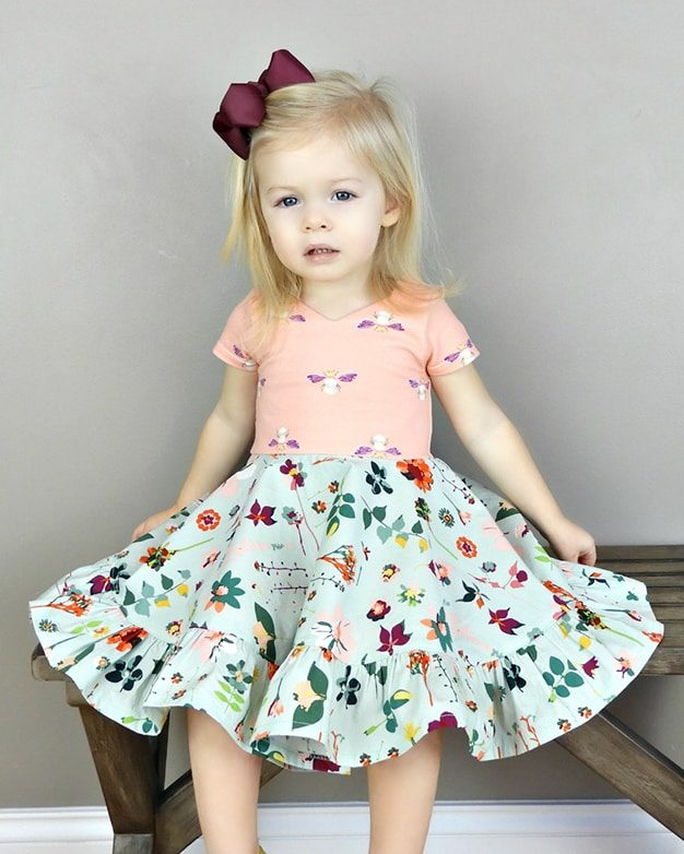 Infant Baby Aria's bow back top and dress The Simple Life Pattern Company knit jersey lycra ruffle circle skirt twirl bow back modest pdf downloadable sewing pattern sleeves fall winter spring summer tank ruffle flutters vintage modern fast easy beginner.