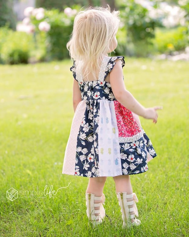 Laguna's double flutter top and dress is the cutest spring and summer dress. Loaded with options (because thats what we do), makes this a very versatile pattern for all occasions. Have a favorite fabric collection? Showcase it in the panel skirt option. There is an option for side pockets on the skirt as well, making it perfect for those little girls who love to collect treasures. For a super fast sew, do a simple skirt or only add the side skirt panels with pockets to showcase a few prints. The straps can be simple or you can add a flutter or even a double flutter. This pattern buttons or snaps in the back, making it a slightly fitted bodice. vintage modern toddler kid girls dress top.