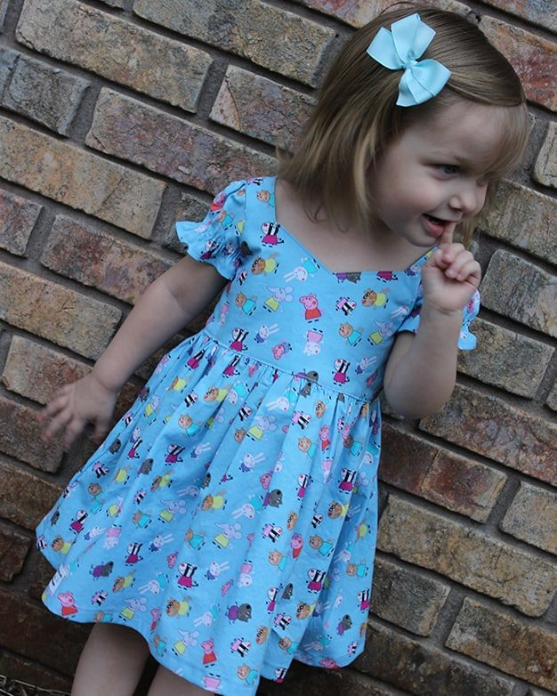 Baby Pearl's Zipper Top and dress Simple Life Pattern Company SLPco PDF downloadable sewing pattern for advanced beginners zipper instructions how to party dress puff sleeve open back ruffle skirt spring dress summer style fall back to school dress winter holiday special occasion top and dress