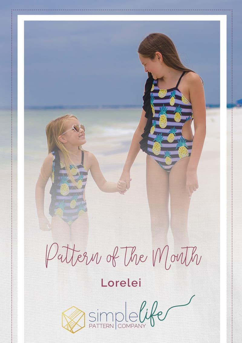 Simple Life Pattern Company Lorelei's Flutter Side Cut Out Swimsuit pdf sewing pattern girls 2t-12 slpco swimsuit flutter side cutout summer one shoulder strappy trendy Pattern of the Month POM