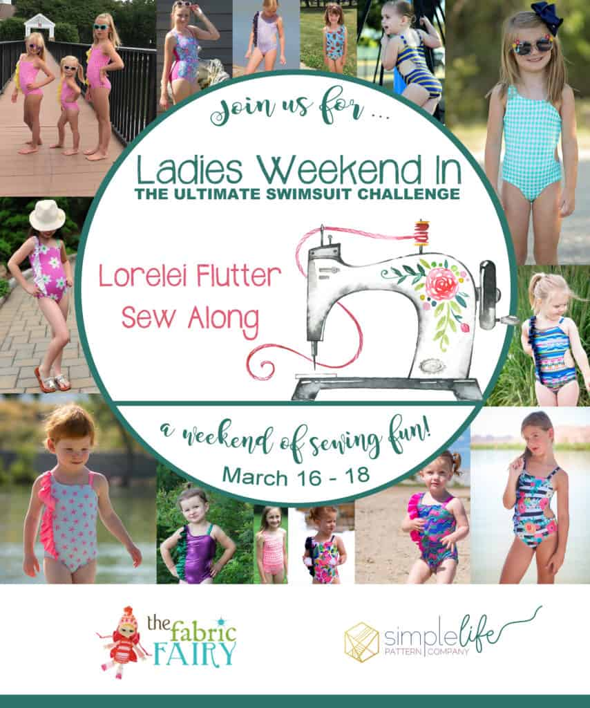 Simple Life Pattern Company | SLPco Lorelei Sew Along Ladies Weekend in Lorelei's Flutter Side Cut Out Swimsuit pdf sewing pattern girls 2t-12 slpco swimsuit flutter side cutout summer one shoulder strappy trendy Fabric Fairy Prizes Swim Knit Beach Pool