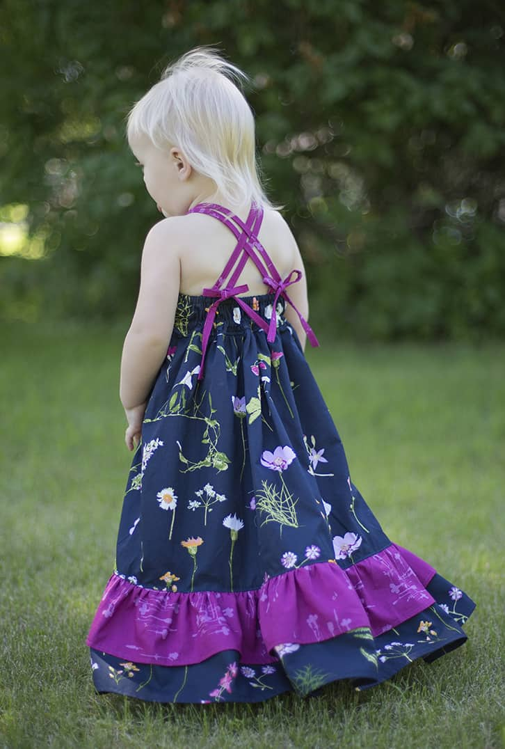 Cora's strappy back Top Dress and Maxi. Woven straps tie in back. elastic grow with me bodice. double ruffle dress. Pleated wave bodice pintucks toddler baby girls spring summer fall dress fancy special occasion party dress. beach maxi trendy Pattern of the Month