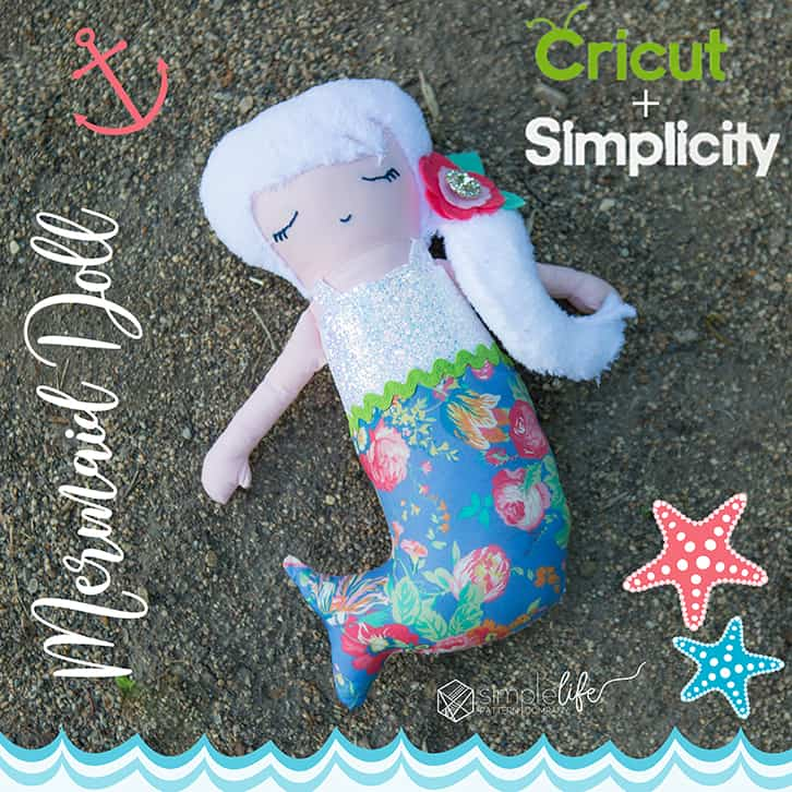Simple Life Pattern Company Cricut Maker Simplicity creative group cutting machine mermaid doll pdf downloadable sewing pattern cricut design space 8067 d mermaid tail hair flower bow clip chunky glitter canvas art gallery fabrics liberty of london tana lawn blue pink floral explore air 2 silhouette cameo 2 3