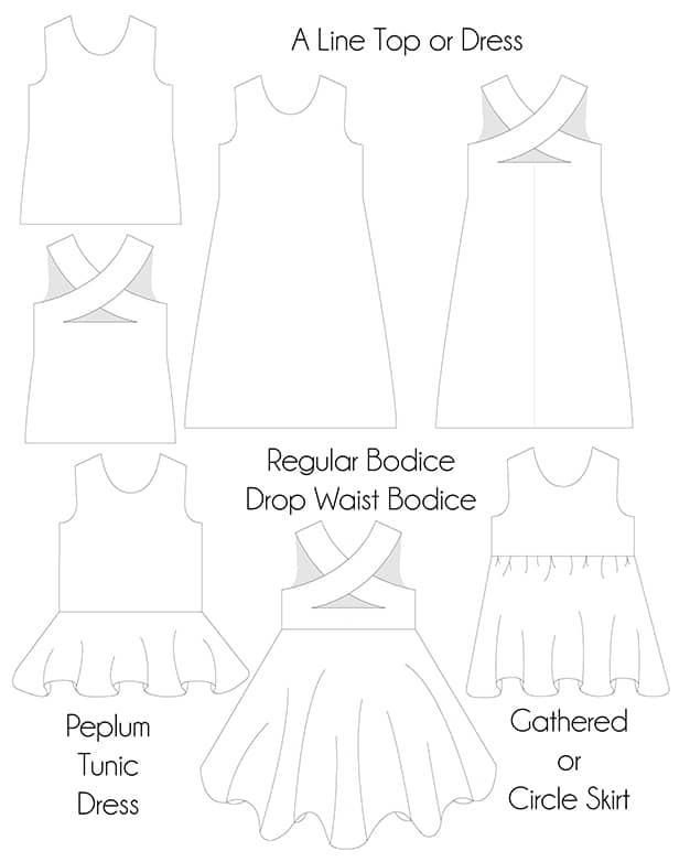 Kyras Cross Back Peplum Tunic Dress Downloadable Pdf Sewing