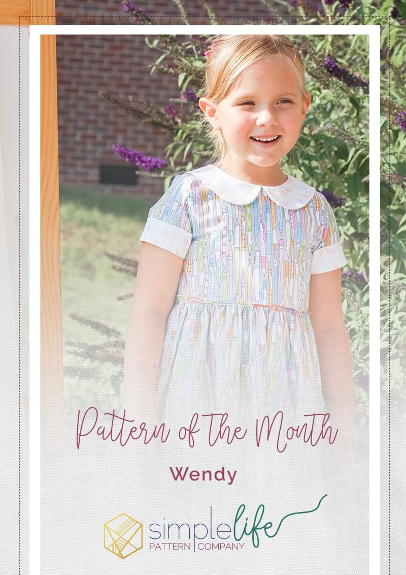 Simple Life Pattern Company | Wendy's Classic Collar Dress Downloadable PDF Sewing Pattern for Girls and Toddlers sizes 2-12. Wendy is available in GIRL, BABY and DOLL sizes.  This is a classic vintage-style dress you will absolutely fall in love with.  Designed for woven fabrics, this pattern features endless options.  Wendy features a simple bodice with optional peter-pan collar.  Trim the collar with piping or crochet lace for a special look.  This pattern offers a full coverage back that buttons (or snaps) up the back. Choose from sleeveless, short, 3/4, and long with or without optional cuffs.  The skirt is a full gathered skirt with a deep hem and optional inseam pockets.  As the perfect finishing touch there is an optional skinny belt with belt loops to keep it in place.  This dress is great for everyday play or dress it up with satin and sequins for a special occasion.