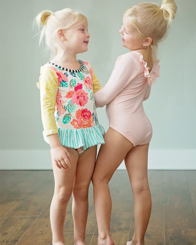 Simple Life Pattern Company | Lydia's Ruffle Back Leotard Downloadable PDF Sewing Pattern for Girls and Toddler Sizes 2T-12 Leotard dance long sleeve short sleeve 3/4 sleeve sleeveless ruffle ties skirt