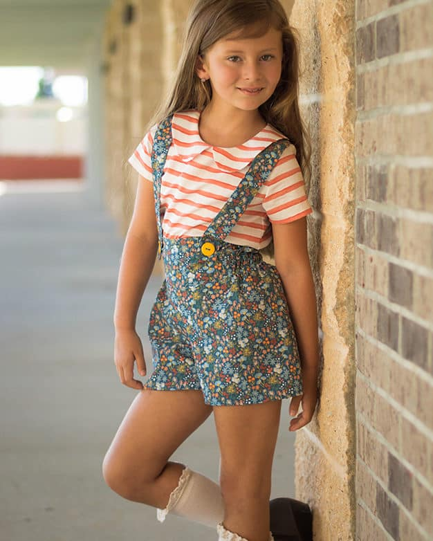 Simple Life Pattern Company | Maggie's High Waisted Shorts Downloadable PDF Sewing Pattern for Girls and Toddler Sizes 2T-12 wide leg shorts elastic hem cuff hem pockets pocket tab suspenders high rise low rise mid rise