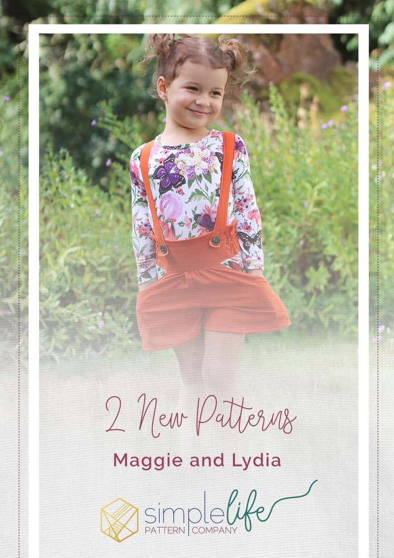 Simple Life Pattern Company | Lydia's Ruffle Back Leotard and Maggie's High Waisted Shorts. Downloadable PDF Sewing Patterns for Girl and Toddlers Sizes 2T-12 leotard ruffle back dance gymnastics long sleeve short sleeve sleeveless high rise shorts mid rise shorts suspenders pockets pocket tabs bubble shorts cuff hem elastic hem deep scoop back modest scoop back Lydia's Ruffle Back Leotard is the perfect leotard for dance, gymnastics or paired with a skirt for school.  It has so many adorable features.  This leotard features a ruffle back with a deep or modest scoop.  There are 4 sleeve lengths, sleeveless, short, 3/4 and long.  Lydia has an optional skirt option and ties.  The legs, arms, and neckline are finished with binding so there are no seams showing.  This leotard provides the perfect full coverage for all your dancing and gymnastic needs. These gorgeous flat front, high waisted suspender shorts are perfect for girls of all ages that can be worn year round.  Styled with tights or knee-high socks, Maggie will be your favorite fall look for your little.  Maggie has 3 waistband options, high rise, mid-rise, and low rise and can be wide leg, bubble shorts with cuffs or bubble with an elastic hem.  The optional suspenders are buttoned in, making them fully removable.  Maggie's High Waisted Shorts have adorable side slant pockets with an optional pocket tab.