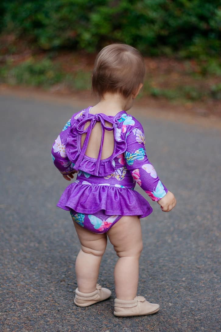 Simple Life Pattern Company | Baby Lydia's Ruffle Back Leotard Downloadable PDF Sewing Pattern for Baby Sizes Newborn-24 Months Leotard dance long sleeve short sleeve 3/4 sleeve sleeveless ruffle ties skirt baby leotard onesie