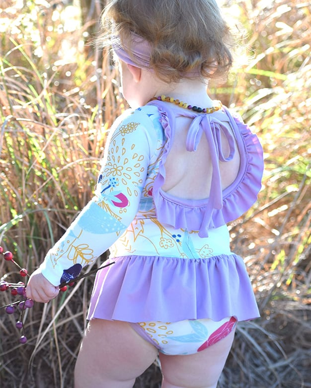 Simple Life Pattern Company   Baby Lydia's Ruffle Back Leotard Downloadable PDF Sewing Pattern for Baby Sizes Newborn-24 Months Leotard dance long sleeve short sleeve 3/4 sleeve sleeveless ruffle ties skirt baby leotard onesie