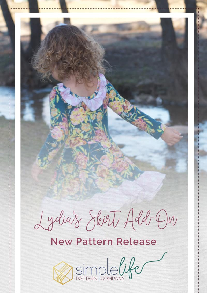 Simple Life Pattern Company | Lydia's Circle Skirt Add On. Downloadable PDF Pattern for Toddlers and Girls Size 2T-12. Lydia's Circle skirt add on. Lydia's Ruffle Back Leotard pattern is getting an add on! This is an add on, you will need the original Lydia's Ruffle Back Leotard pattern to make a complete dress. This is for the skirt and pocket pieces only (and construction tutorial). This add on is loaded with so many options.  Add the ultimate twirl factor to Lydia by choosing the circle skirt or there is also a gathered skirt option.  Choose from a simple hem, skinny hem band or ruffled hem.  The pattern includes side seam pockets or patch pockets, a faux sash and back bow tie.  Choose between top and dress length for even more options.