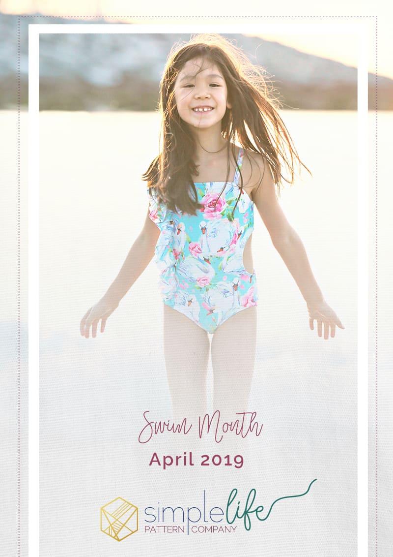 It's Swim Month: April 2019| The Simple Life Company Downloadable PDF Sewing Pattern for Girl's and Toddler Sizes 2T-12 | HARBOR'S FLUTTER BACK SWIMSUIT | LORELEI'S FLUTTER CUTOUT SWIMSUIT | CORDELIA'S SWIMSUIT COVERUP | MARINA'S CRISS CROSS TANKINI & ONE PIECE | Swimsuit, Summer, Bikini, Beachwear, Swimwear, Resortwear, Fashion, tropical, pool, bathing suit, beach wear, swim wear, resort wear, vacation