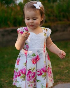 Baby Ava's Pleated Dress | Simple Life Pattern Company pdf sewing pattern Baby sizes Newborn to 24 months. slpco pleats, pleated skirt box pleat sweetheart neckline spring, summer, fall, winter, sleeveless, long sleeve, button keyhole, deep hem, embroidery, bodice insert, top, dress