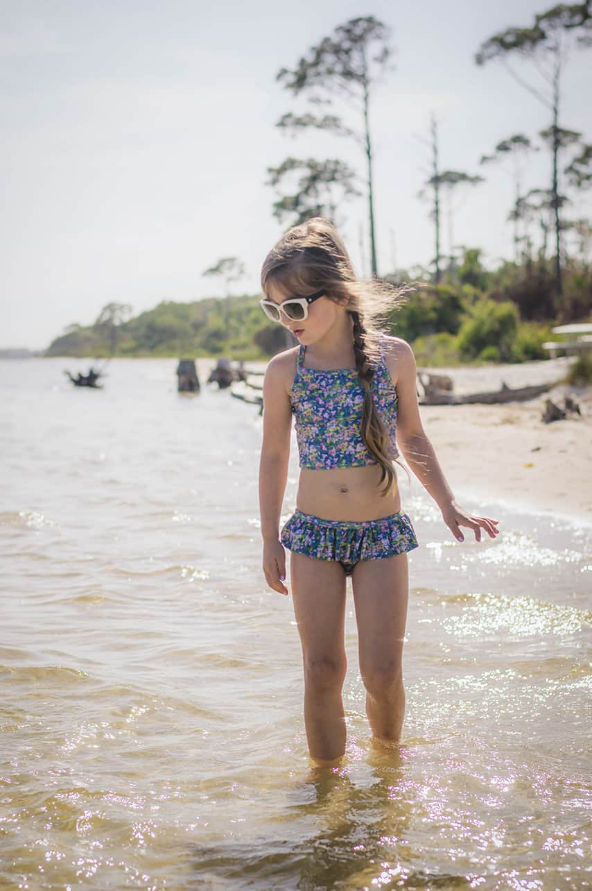 April Pattern of the Month: Marina's Criss Cross Tankini and One Piece | The Simple Life Company Downloadable PDF Sewing Pattern for Girl's and Toddler Sizes 2T-12 Swimsuit, Summer, Bikini, Beachwear, Swimwear, Resortwear, Fashion, tropical, pool, bathing suit, beach wear, swim wear, resort wear, vacation