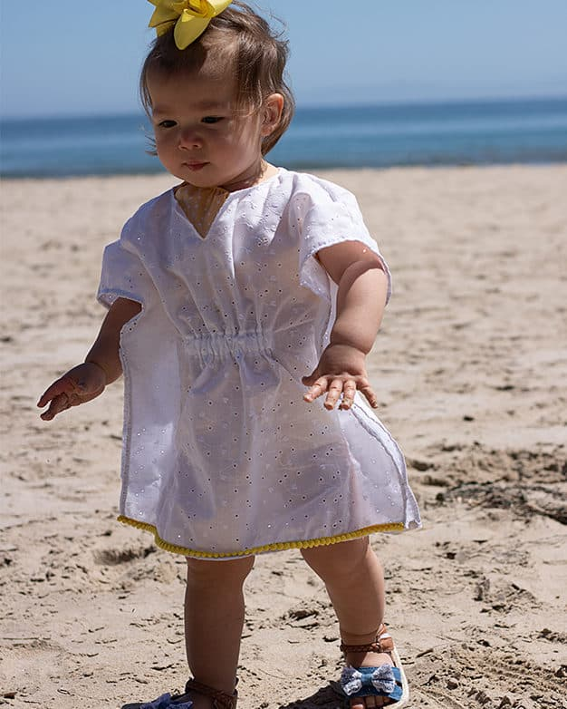 Simple Life Pattern Company | Baby Cordelia's Swim Cover. Downloadable PDF Sewing Pattern for Baby Sizes Newborn to 24 Months. Beach cover up swimsuit cover summer trim caftan