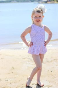 Simple Life Pattern Company | Adding a Skirt to the Elise One Piece Elise's One Shoulder Swimsuit & Tankini. Downloadable PDF Sewing Patterns for Toddler and Girl Sizes 2T-12. Elise's One Shoulder swimsuit can be sewn as a one piece or a tankini.  Both versions can feature the optional flounce and skinny strap or be left as a simple single shoulder suit.  The tankini also has an optional circle skirt for the ultimate girly swimsuit.  Fully lined or partial lining.  A shorten/lengthen line is included for the perfect fit and coverage you may want.