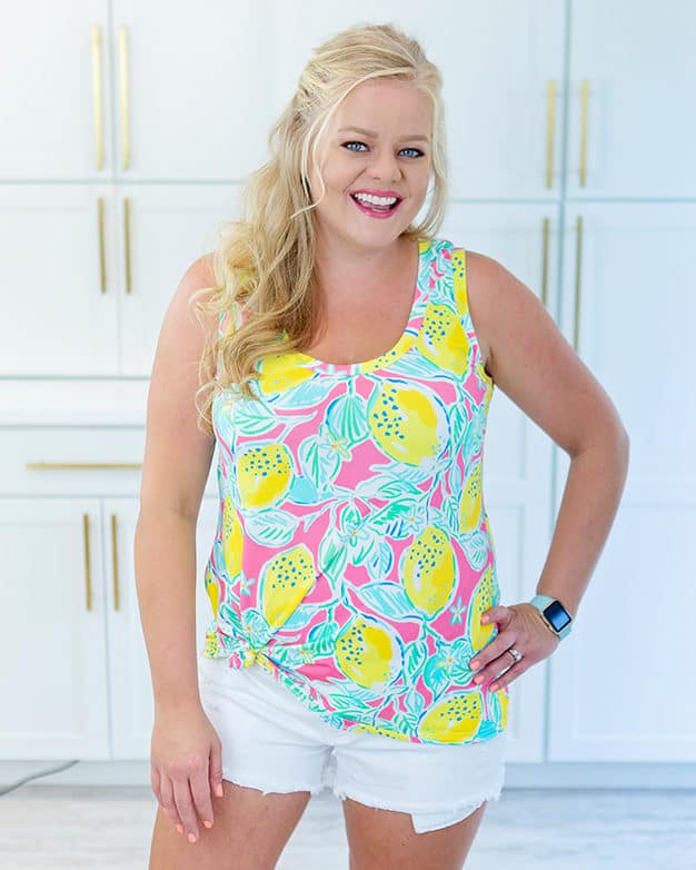 Simple Life Pattern Company SLPco PDF downloadable sewing pattern fast easy beginner tween girls women knit Kendra is a relaxed fit tank top with a little bit of shaping. Slightly tighter around the bust and loose around the waist and hips. This pattern is designed for knit fabrics. Cotton spandex, cotton lycra and slightly more stable knits work best. If you choose to use a lighter, slinkier knit, it will drape differently and fit a little looser. Kendra features two front necklines: a higher scoop neckline and a lower scoop neckline. This pattern also features two different back options. You can choose from a full back tank that will cover traditional bra straps or choose the sporty racerback cut line. This pattern lands around upper mid hip, the perfect length for shorts or pants. Cotton knit spandex art gallery fabrics cotton lycra cl dbp brushed poly sewing patterns ity girls women plus size sewing patterns