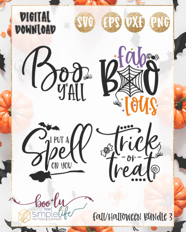 Fall Halloween Bundle 3 cut files for Cricut Silhouette Brother SVG PNG EPS DXF